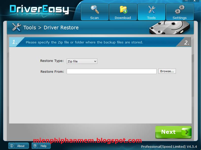 Tính năng phục hồi Driver trên DriverEasy 4.5.4