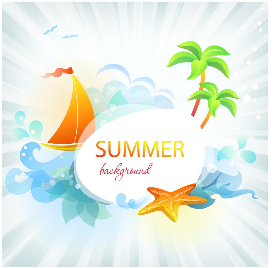 free vector がらくた素材庫: 夏の海をイメージした光溢れる背景