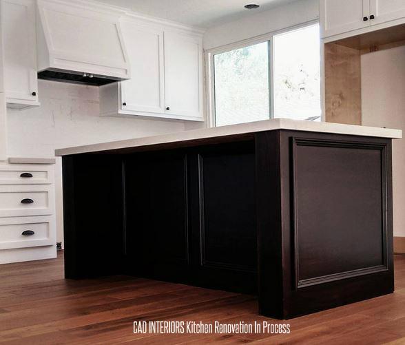 modern farmhouse island shaker cabinets trim detail quartz countertop