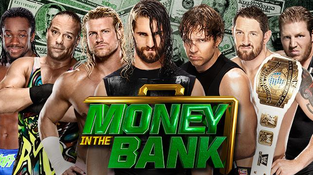 lucha de escaleras en money in the bank wwe wrestling show, luchadores de wwe en money in the bank
