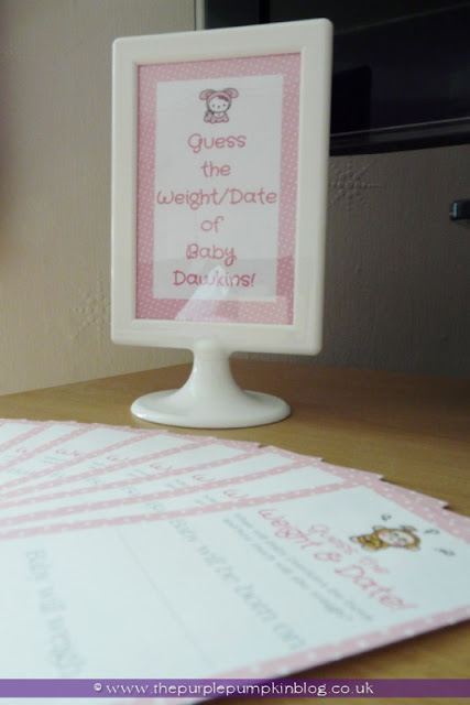 Guess the Date/Weight of Baby for a Baby Shower at The Purple Pumpkin Blog