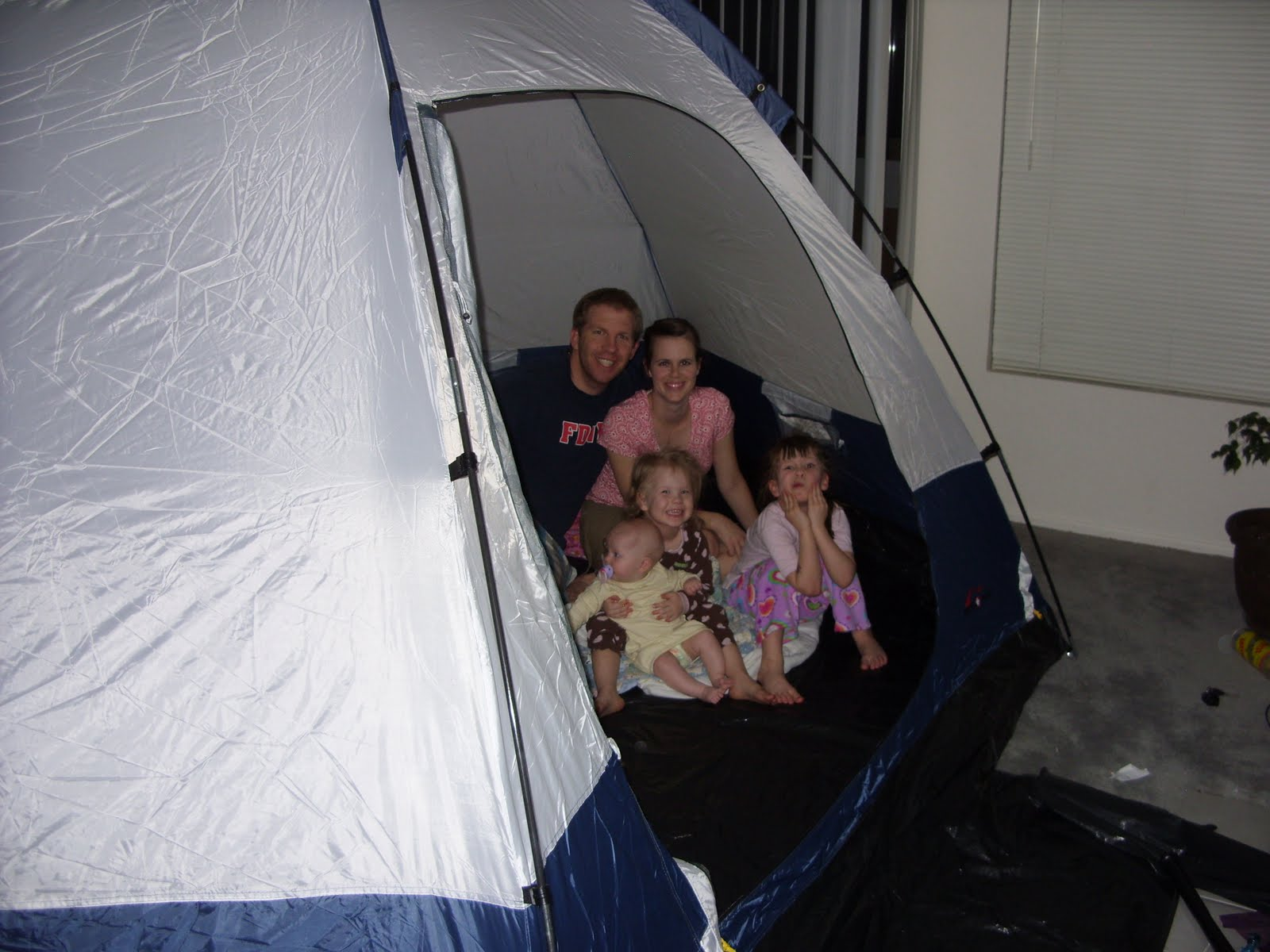 family campout in the living room. It wasn't too hot and we didn't  title=