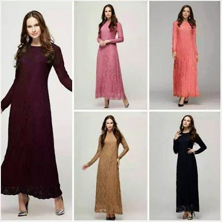 Dress Menawan Lace Chiffon Full Lining Dengan Kombinasi Warna Warna MAnis Sangat MEnawan
