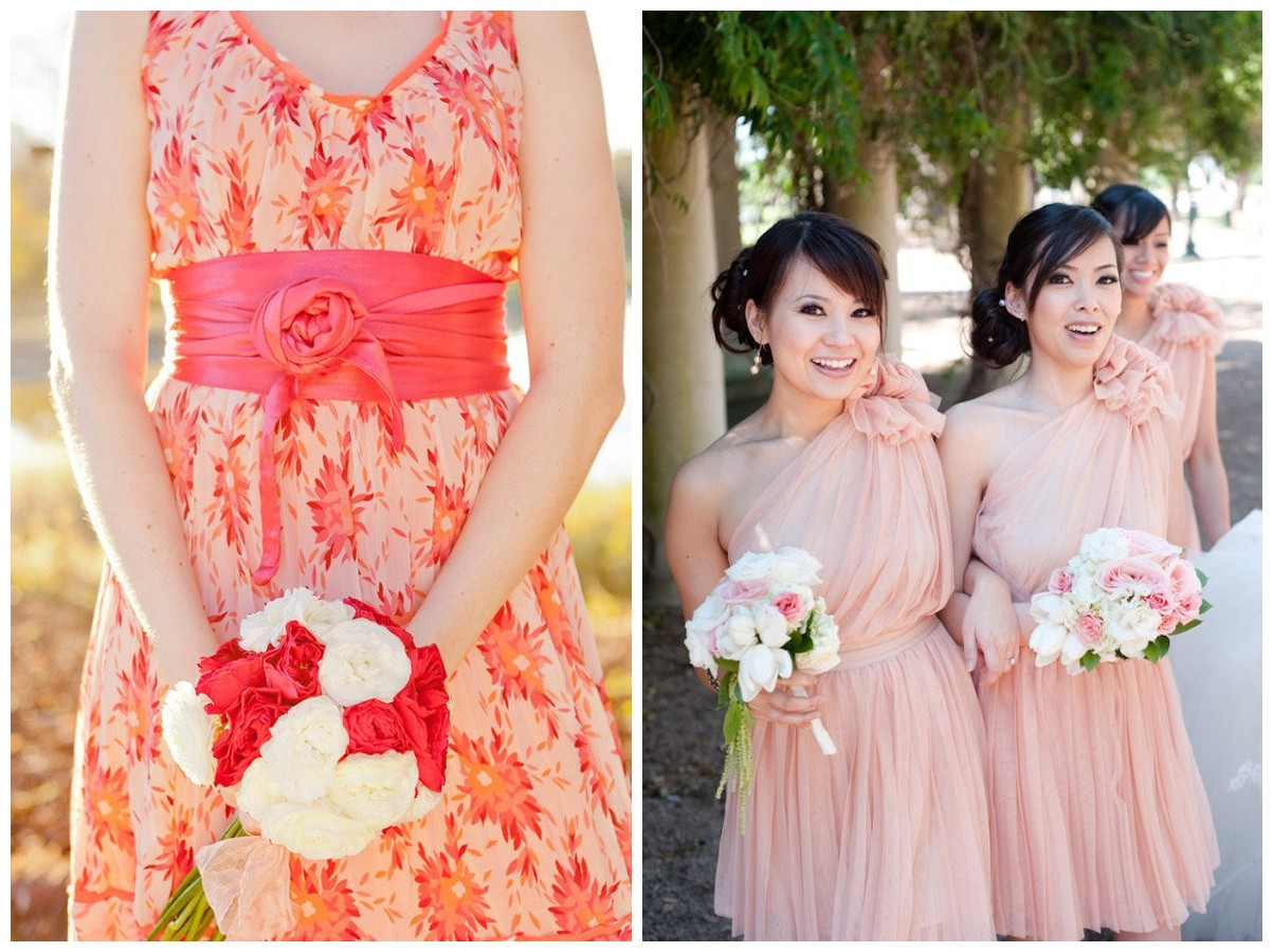 bridesmaid dresses with floral accents