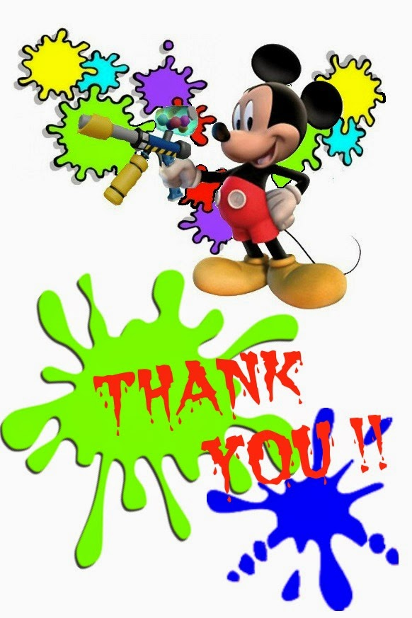 Mickey Paintball party thank you cards