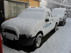 Fish's Vehicle covered in snow