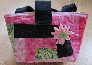 wonky log cabin, ribbon flower button