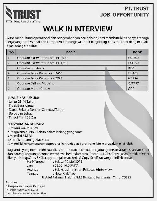 Lowongan Kerja Walk in Interview PT Trust
