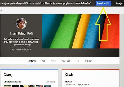 Notifikasi Dapatkan URL Khusus Profil Google+