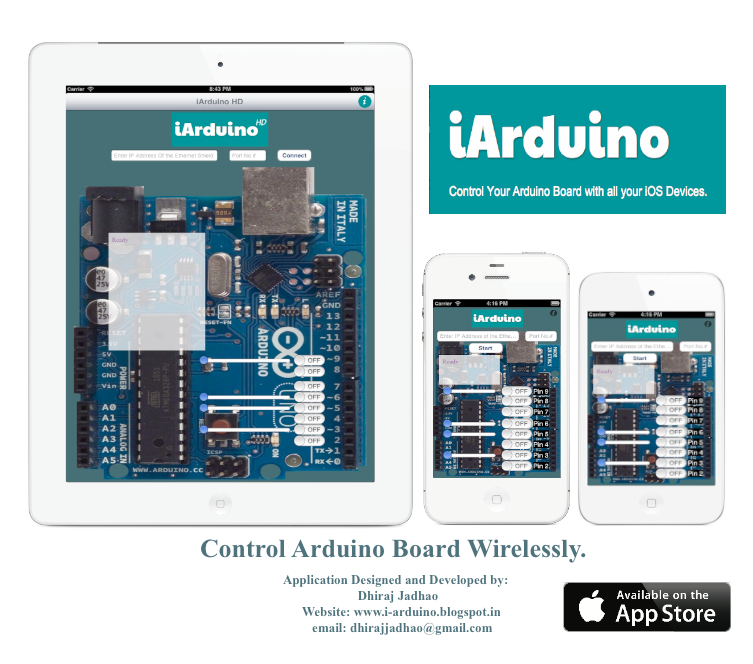 Control arduino board wirelessly with iarduino application