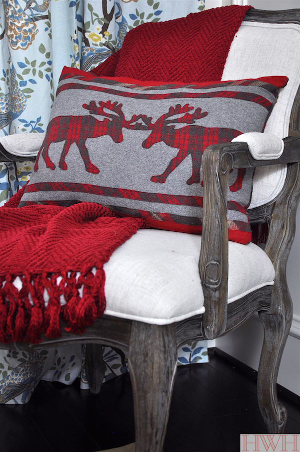 Red chenille throw and plaid stag pillow & festive holiday decor | Honey We're Home