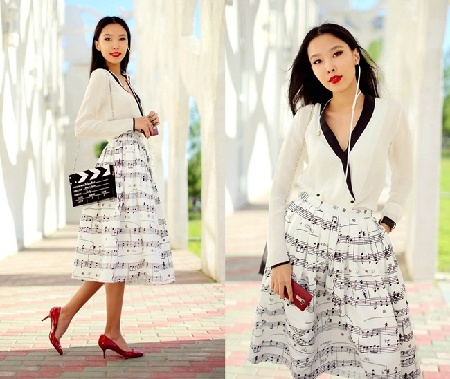 Chic Wish 2015 SS Dance With Music Notes Pleated Midi Skirt