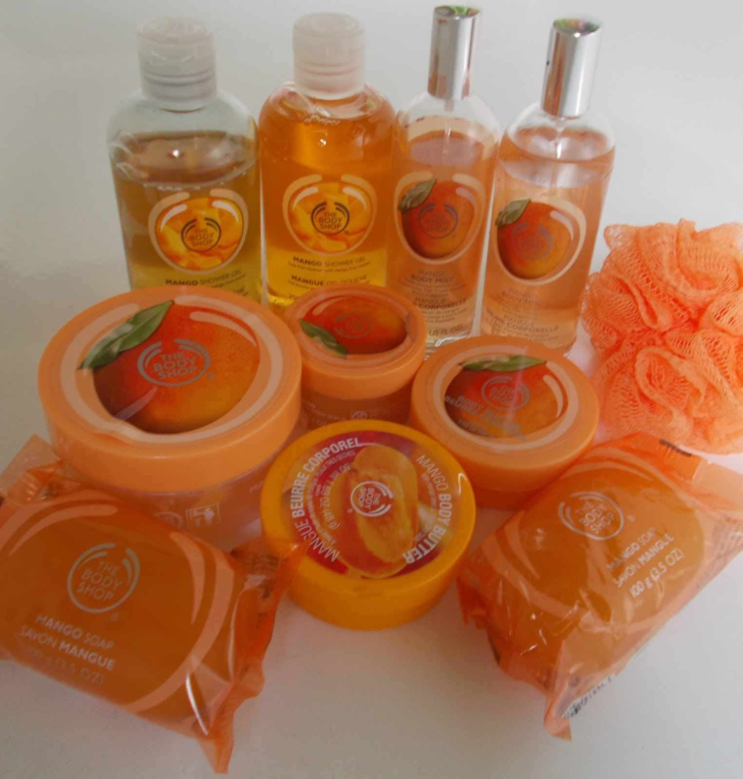 The Body Shop Mango Collection Shower Gel Soap Body Butter Lip Balm Sugar Scrub Butter Body Mist crinkle lily room spray cream