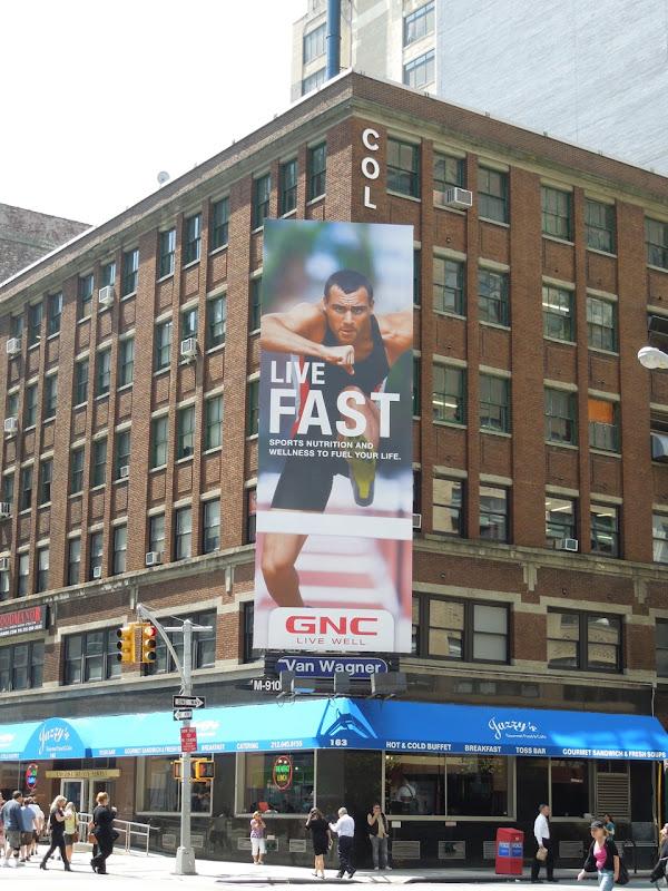 Live Fast hurdler GNC billboard