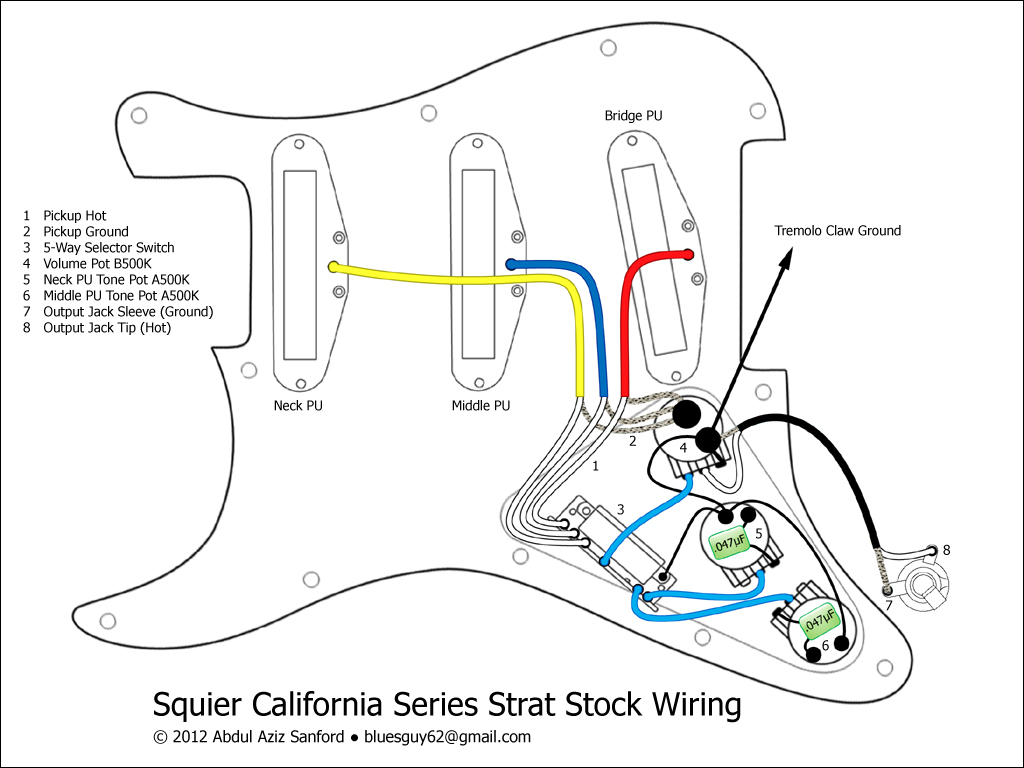 Fender Stratocaster Series Wiring Diagram http://www.squier-talk.com/forum/tech-talk/8613-squier-california-series-strat-stock-wiring-diagram.html
