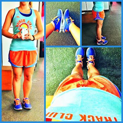 tempo short, orange, blue, nike free, free your run