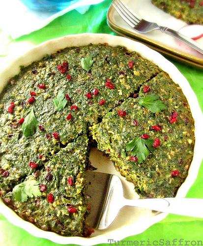 ... persian baked egg dish kuku recipes dishmaps persian baked egg dish