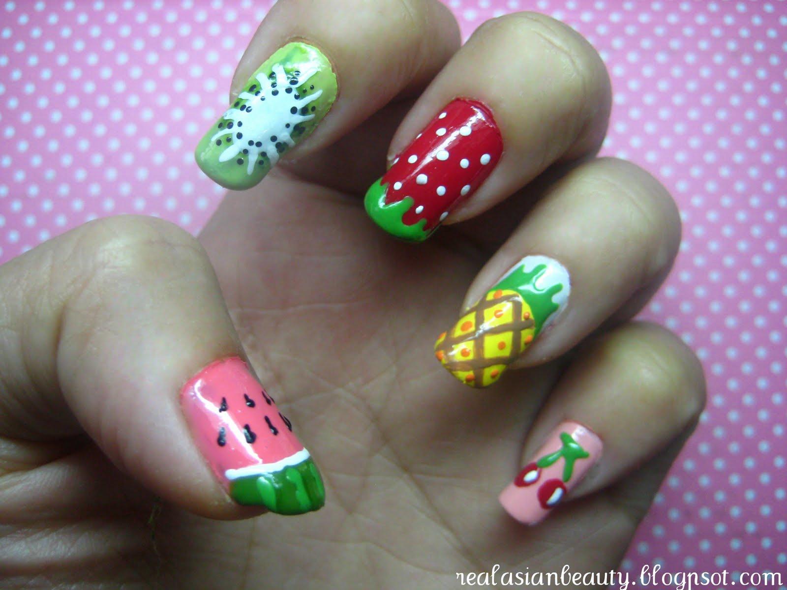 Real Asian Beauty: Summer Fruits Nail Art (Watermelon Kiwi Strawberry ...