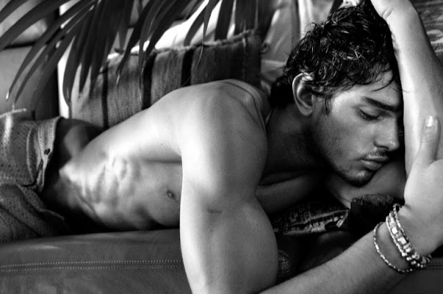 Marlon Teixera shirtless sleeping and black and white