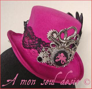 mini chapeau steampunk pieuvre poulpe kraken rouage jules verne nautilus gear octopus steampunk mini hat