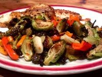 Vegan Recipe Roasted Brussels Sprouts and Sweet Peppers
