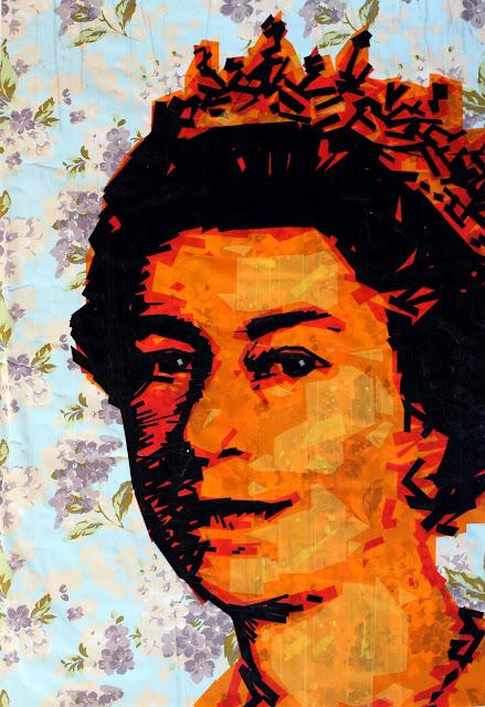 Queen Elizabeth II / tape art sonya bronya contemporary artist israel russia poart