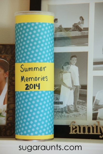 Summer memories can be kept in a time capsule craft for kids. From Sugar Aunts