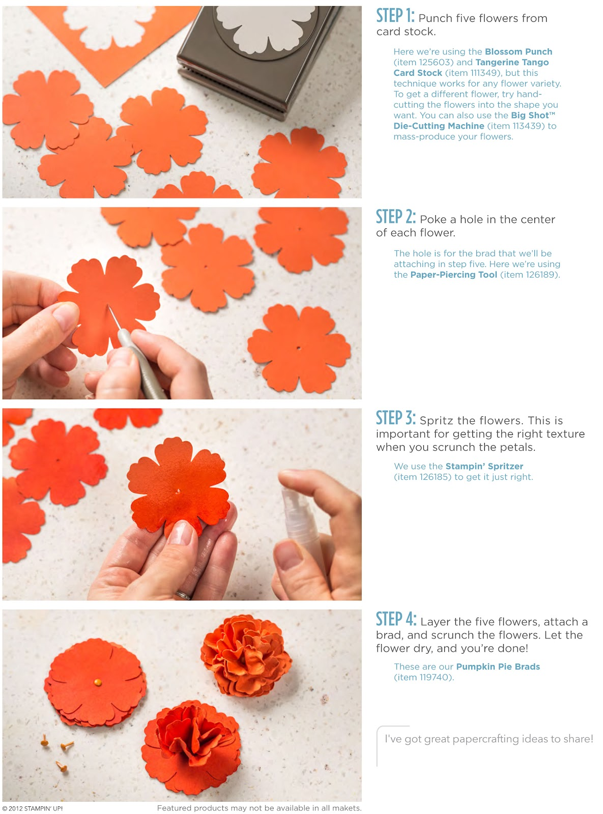 Stamp A Blessing Stampin Up Paper Flowers Tutorial