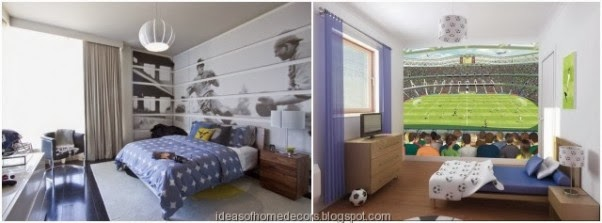 boy's football bedroom themed decoration ideas