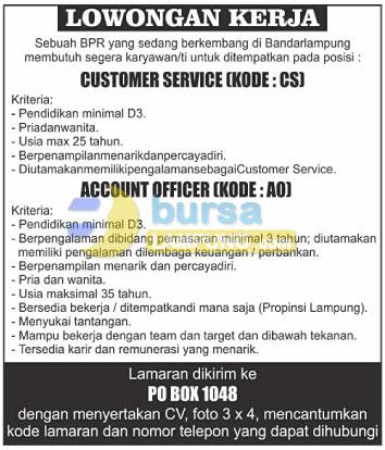 Lowongan Kerja Customer Service dan Account Officer