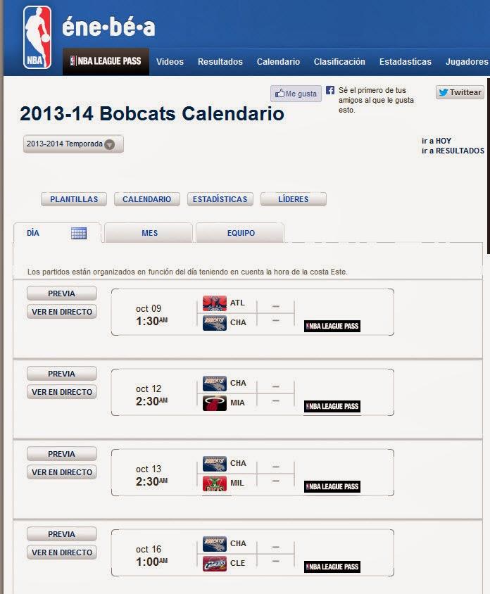 Calendario BOBCATS 2013 2014