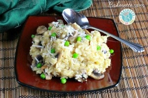 Slow Cooker Mushroom Risotto with Peas