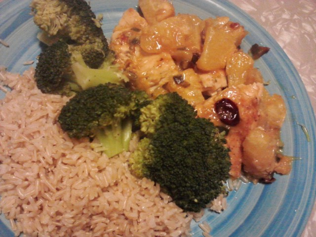 orange chicken with scallions, garlic, craisens.....brown rice...and ...