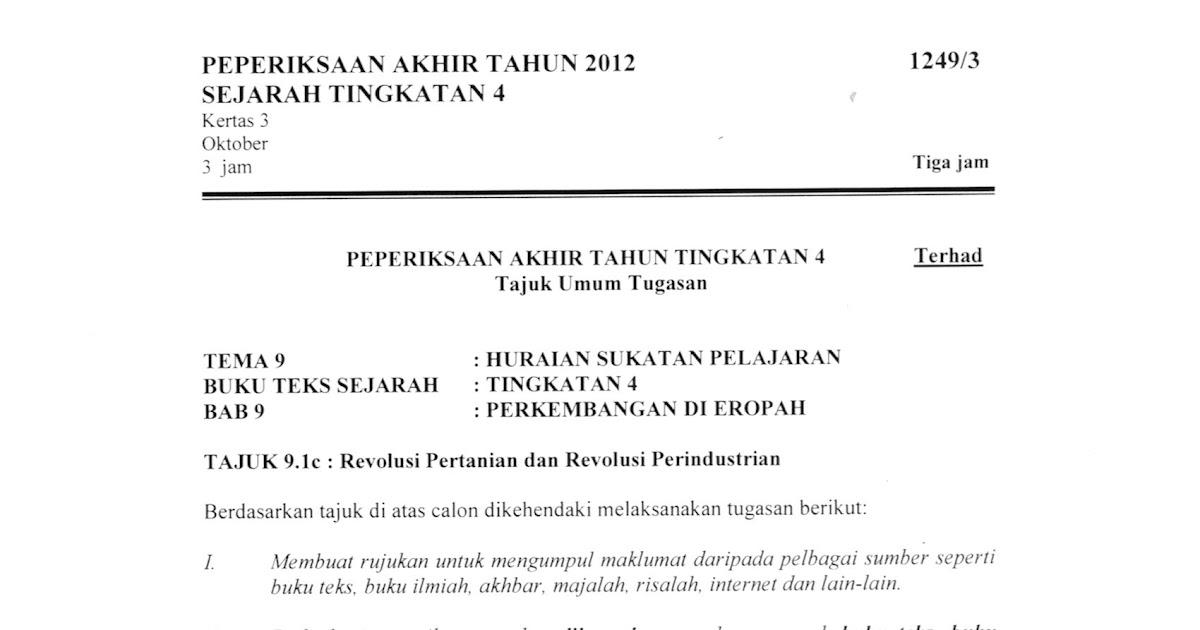 Soalan Peperiksaan Akhir Tahun Sejarah Tingkatan 4 2019 Kerja Kosp