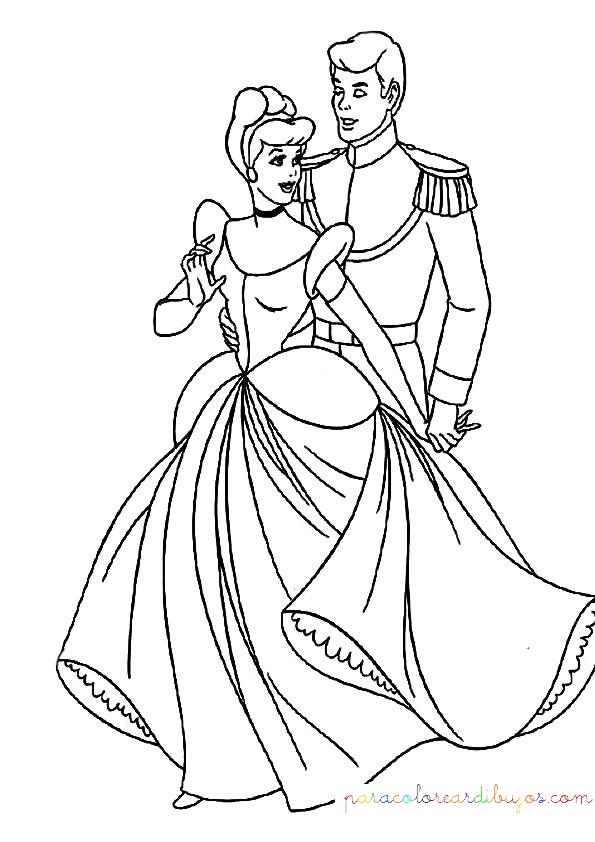 dibujo de cenicienta y el principe