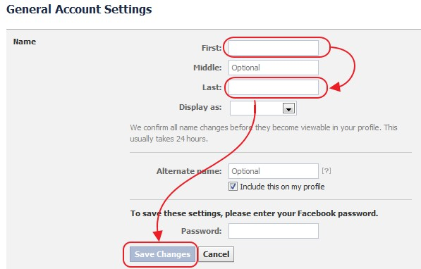 Step to add Invisible name on Facebook