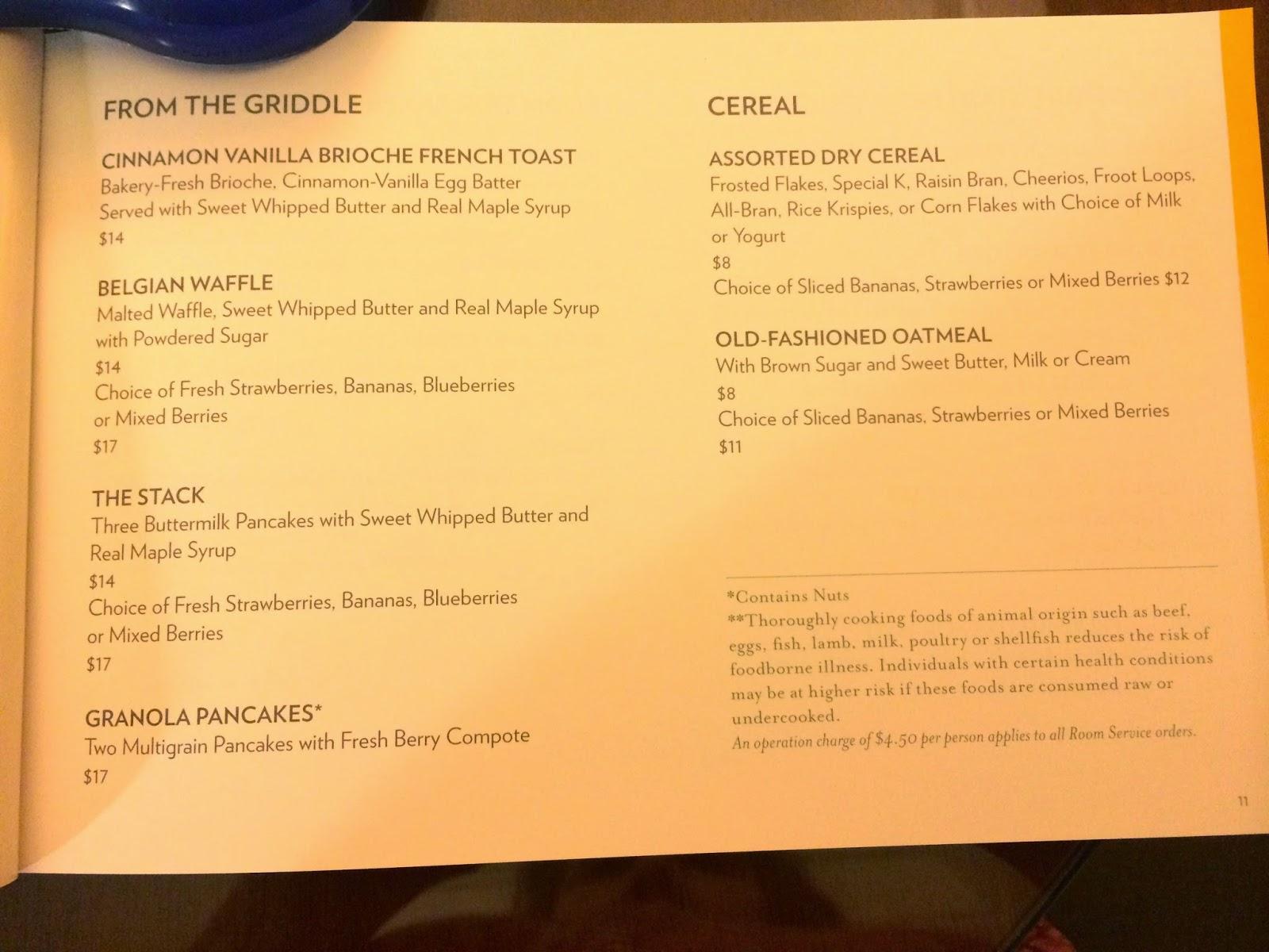 Mandalay Bay Room Service Menu As Of June 2014 Part 35