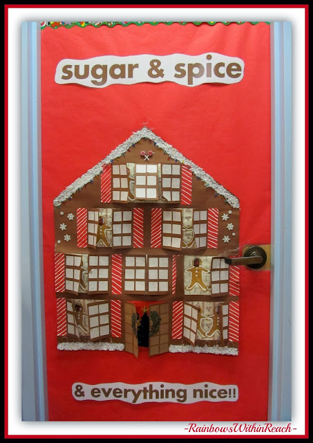 Gingerbread House Classroom Door Decoration via RainbowsWithinReach