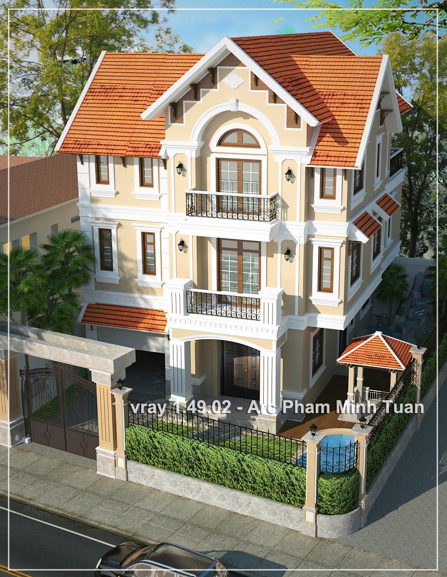 Sketchup texture sketchup model vray villa exterior - Painting exterior render model ...