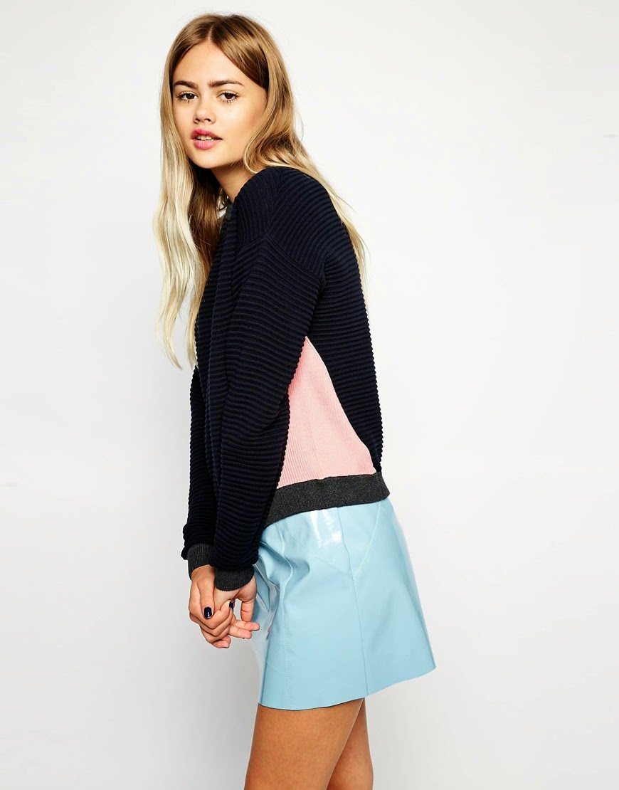 black and light pink jumper, geo jumper