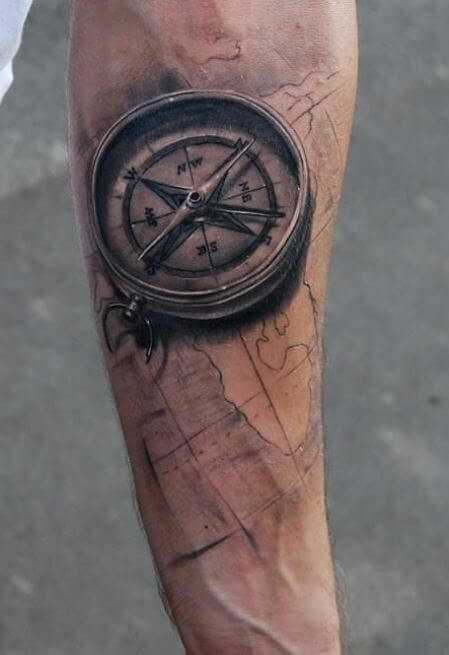 50 Small Compass Tattoos For Men – Navigation Ink Design Ideas