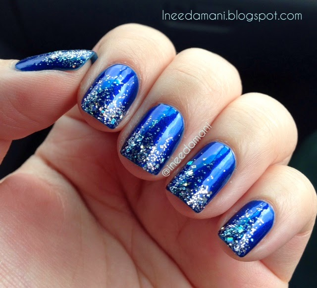 essie aruba blue and silver glitter gradient nails