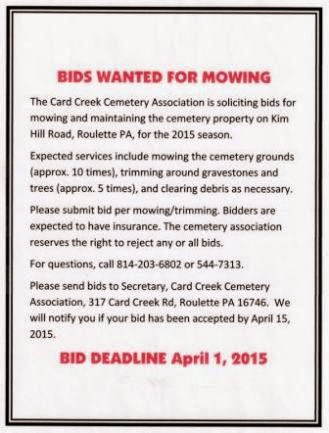Bids Wanted For Mowing Cemetery