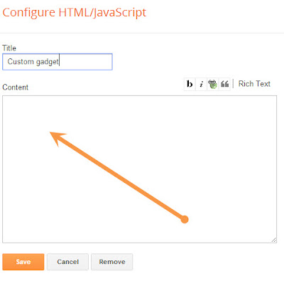 adding new blank widget to blogger
