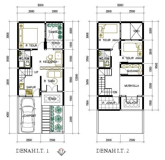 denah rumah minimalis 5x9 5 meter 2 lantai desain denah