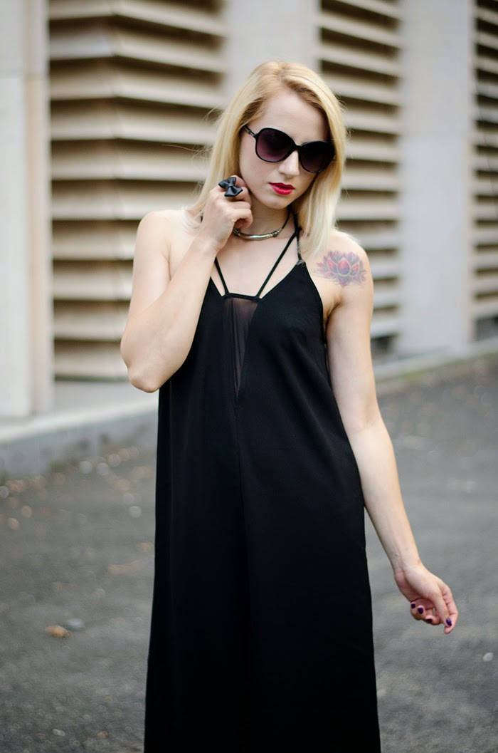 LBD H&M dress sheer panel lotus tattoo