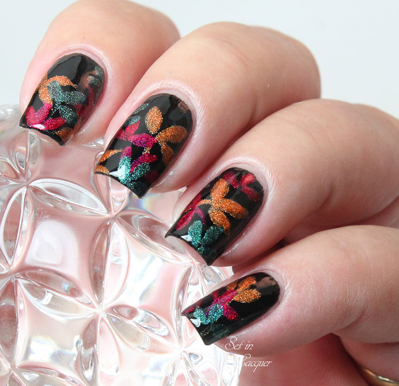 Holographic autumn leaves nail art