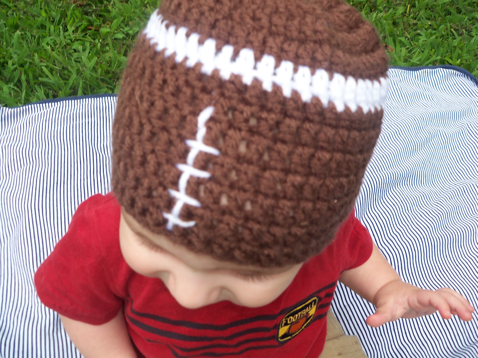 Crochet Jobs : ... www.etsy.com/listing/107322541/crocheted-baby-football-hat-6-months