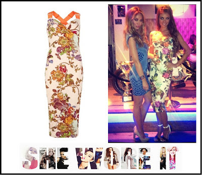 Amabel, Chloe Sims, Fitted, Floral Dress, Jersey, Lauren Pope, Marbella, Midi, Sweet-Heart Neckline, Ted Baker, The Only Way Is Essex, Thick Cross Straps, Tight Fitting, TOWIE,