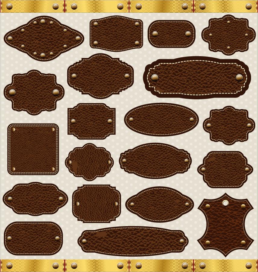 縁取りした革のラベル テンプレート leather texture labels tags イラスト素材